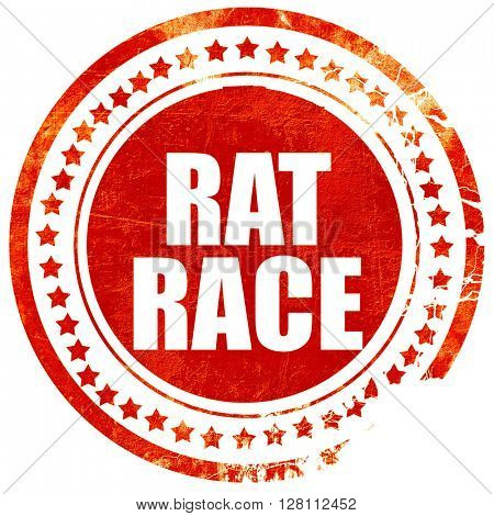 rat race, red grunge stamp on solid background