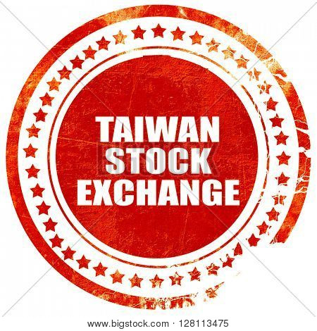 taiwan stock exchange, red grunge stamp on solid background