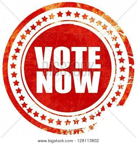 vote now, red grunge stamp on solid background