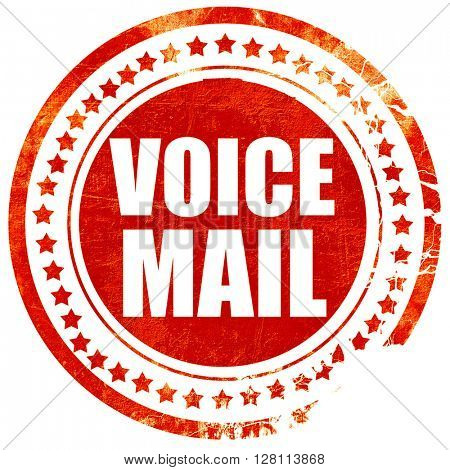 voice mail, red grunge stamp on solid background