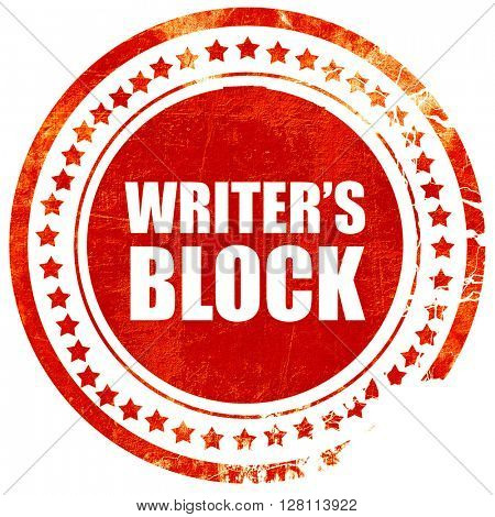 writer's block, red grunge stamp on solid background