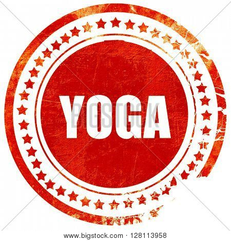 yoga, red grunge stamp on solid background