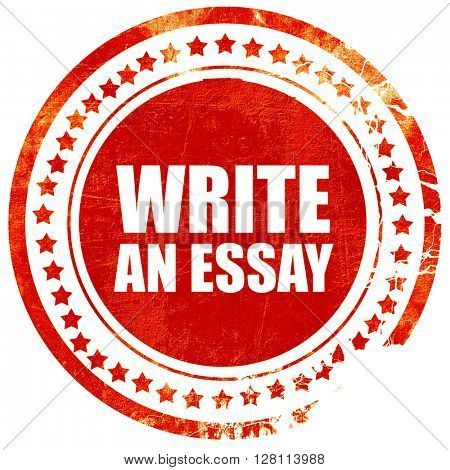write an essay, red grunge stamp on solid background