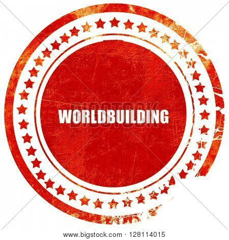 worldbuilding, red grunge stamp on solid background
