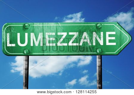 Lumezzane road sign, 3D rendering, vintage green with clouds bac