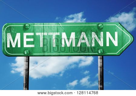 Mettmann road sign, 3D rendering, vintage green with clouds back