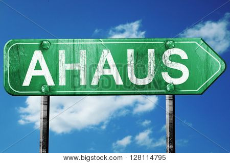 Ahaus road sign, 3D rendering, vintage green with clouds backgro