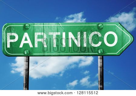 Partinico road sign, 3D rendering, vintage green with clouds bac