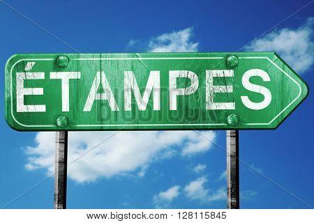 Etampes road sign, 3D rendering, vintage green with clouds backg