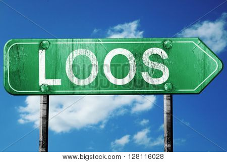loos road sign, 3D rendering, vintage green with clouds backgrou
