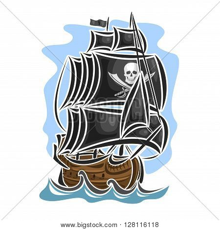Vector logo pirate sailing ship, sailboat, sailer, vessel, sailing, barque, craft, frigate, caravel, galleon, schooner, floating blue sea, ocean, waves. Cartoon pirate sailing old vessel Jolly Roger