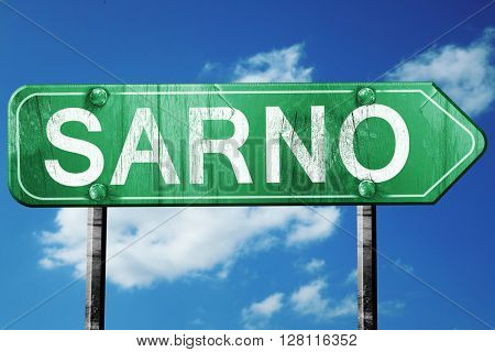 Sarno road sign, 3D rendering, vintage green with clouds backgro
