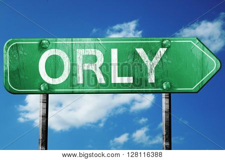 orly road sign, 3D rendering, vintage green with clouds backgrou