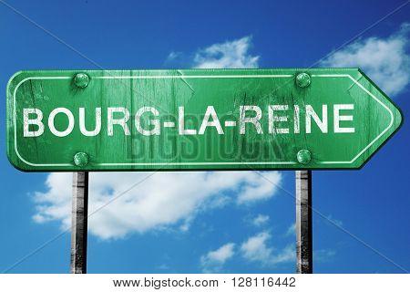 bourg-la-reine road sign, 3D rendering, vintage green with cloud
