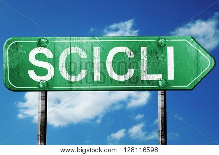 Scili road sign, 3D rendering, vintage green with clouds backgro