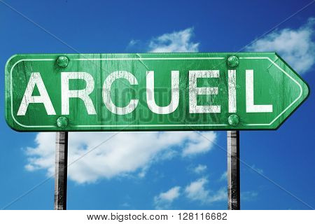 arcueil road sign, 3D rendering, vintage green with clouds backg