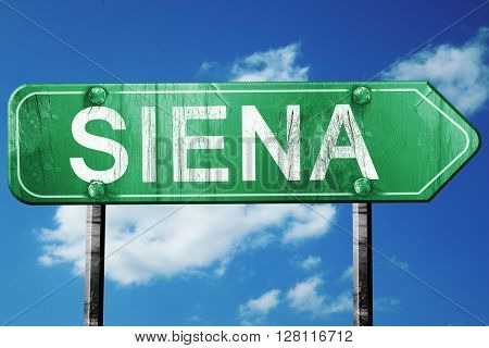 Siena road sign, 3D rendering, vintage green with clouds backgro
