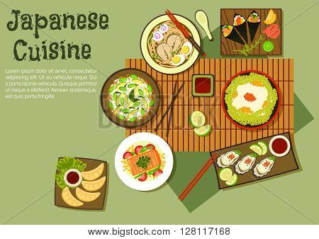 Refreshing oriental dishes of japanese cuisine icon with temaki sushi, edamame rice with beans and red caviar, udon soup, fried dumplings, avocado, green beans and rice salad, oysters, steamed salmon with vegetables, various of sauces and fruit relishes.