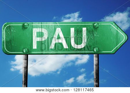 pau road sign, 3D rendering, vintage green with clouds backgroun