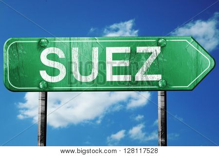 suez road sign, 3D rendering, vintage green with clouds backgrou