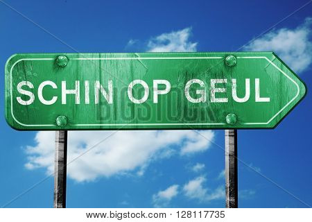Schin op geul road sign, 3D rendering, vintage green with clouds