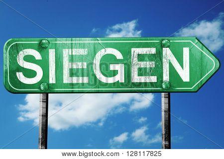 Siegen road sign, 3D rendering, vintage green with clouds backgr