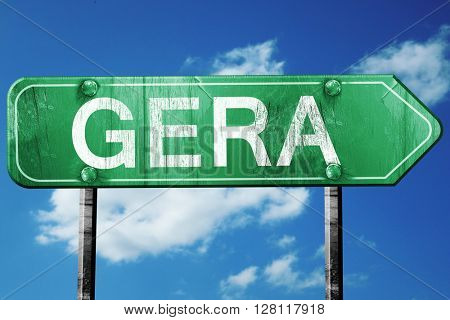 gera road sign, 3D rendering, vintage green with clouds backgrou