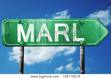 Marl road sign, 3D rendering, vintage green with clouds backgrou
