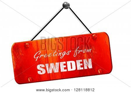 Greetings from sweden, 3D rendering, vintage old red sign