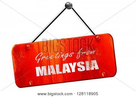 Greetings from malaysia, 3D rendering, vintage old red sign