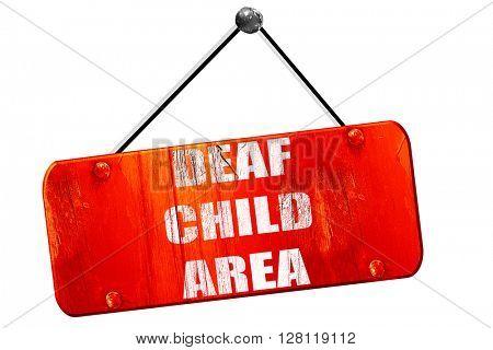 Deaf child sign, 3D rendering, vintage old red sign