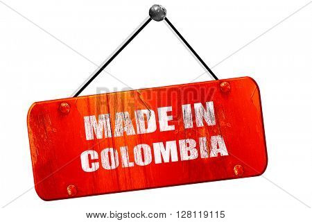Made in colombia, 3D rendering, vintage old red sign