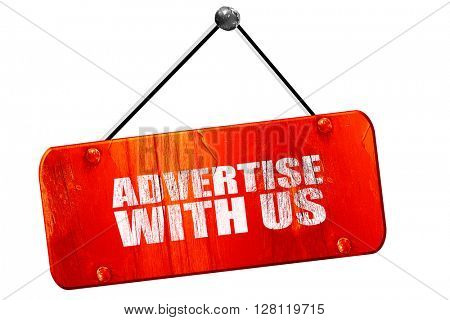 advertise with us, 3D rendering, vintage old red sign