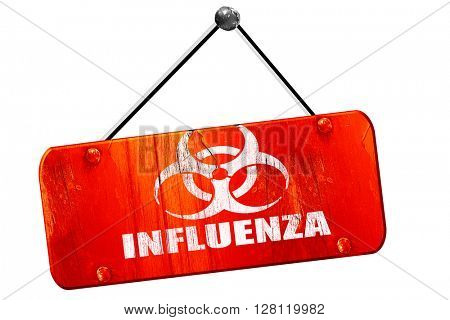 Influenza virus  , 3D rendering, vintage old red sign
