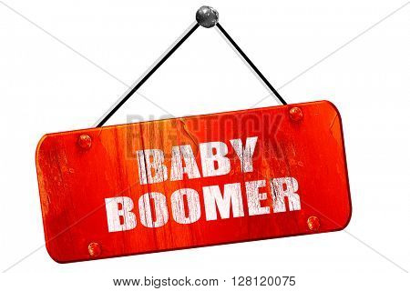 baby boomer, 3D rendering, vintage old red sign