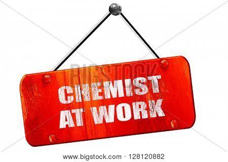 chemist at work, 3D rendering, vintage old red sign