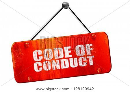 code of conduct, 3D rendering, vintage old red sign