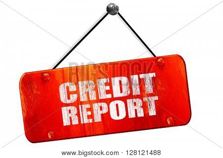 credit report, 3D rendering, vintage old red sign