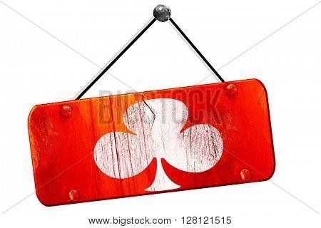Clubs card , 3D rendering, vintage old red sign