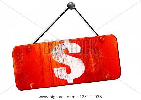 dollar sign, 3D rendering, vintage old red sign