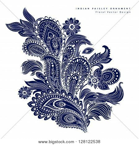 Beautiful Indian floral paisley ornament. Ethnic Lotus. Henna tattoo style.