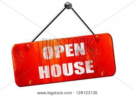 Open house sign, 3D rendering, vintage old red sign