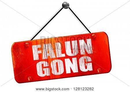 Falun gong, 3D rendering, vintage old red sign