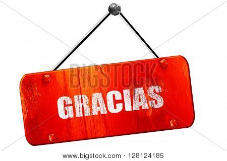 gracias, 3D rendering, vintage old red sign