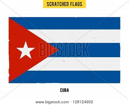 Cuban grunge flag with little scratches on surface. A hand drawn scratched flag of Cuba with a easy grunge texture. Vector modern flat design. poster