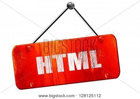 html, 3D rendering, vintage old red sign