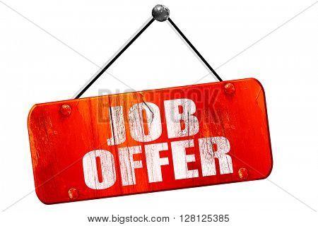job offer, 3D rendering, vintage old red sign