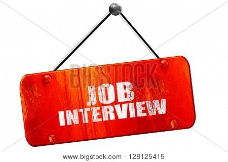 job interview, 3D rendering, vintage old red sign