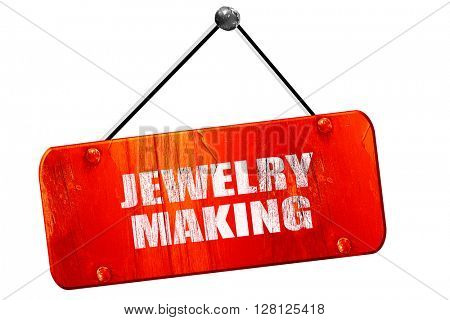 jewelry making, 3D rendering, vintage old red sign