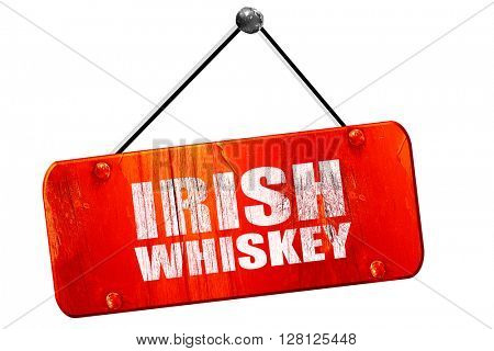 irish whiskey, 3D rendering, vintage old red sign